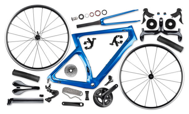all single parts of blue black modern aerodynamic carbon fiber racing road bicycle all single parts components of blue black modern aerodynmic carbon fiber racing sport road bike bicycle racer isolated on white background aerodynamic stock pictures, royalty-free photos & images