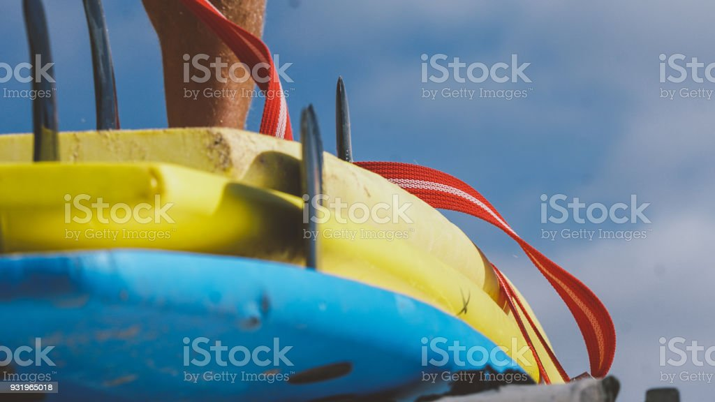 All sizes surfboards close-up. Surf camp and boards of different sizes for surfing stock photo