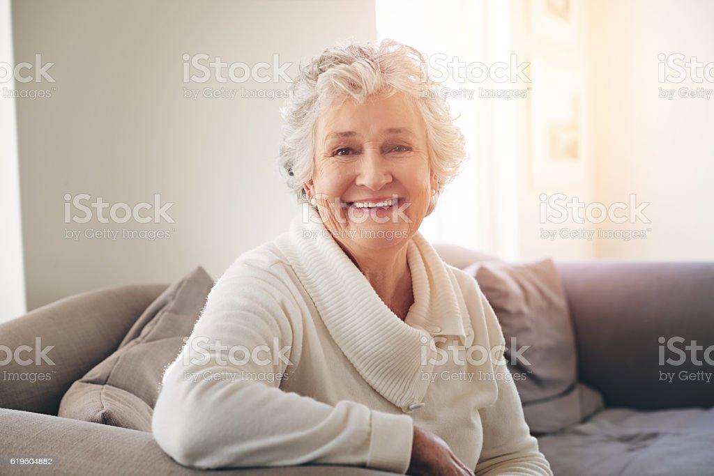 All smiles throughout her senior years stock photo