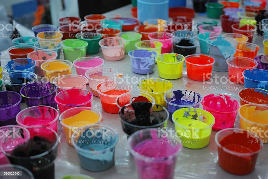 All Sorts of Colors in Small Plastic Glasses stock photo