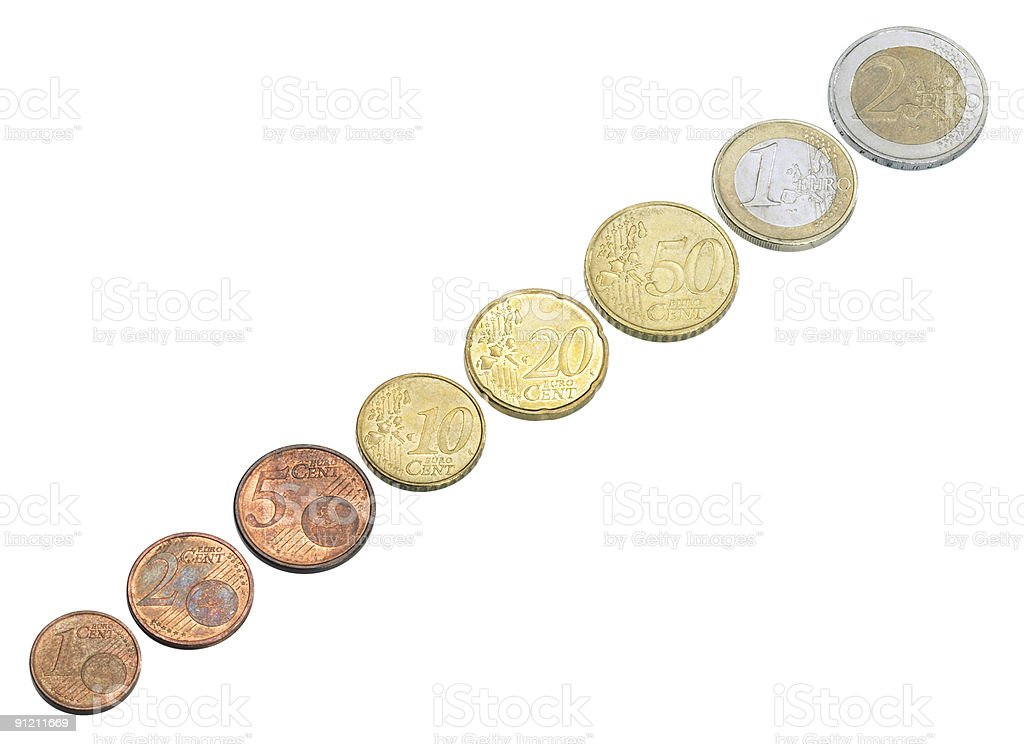 all sorts of euro coins royalty-free stock photo