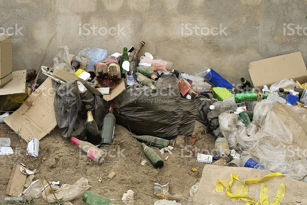 All sorts of rubbish a waste disposal site royalty-free stock photo