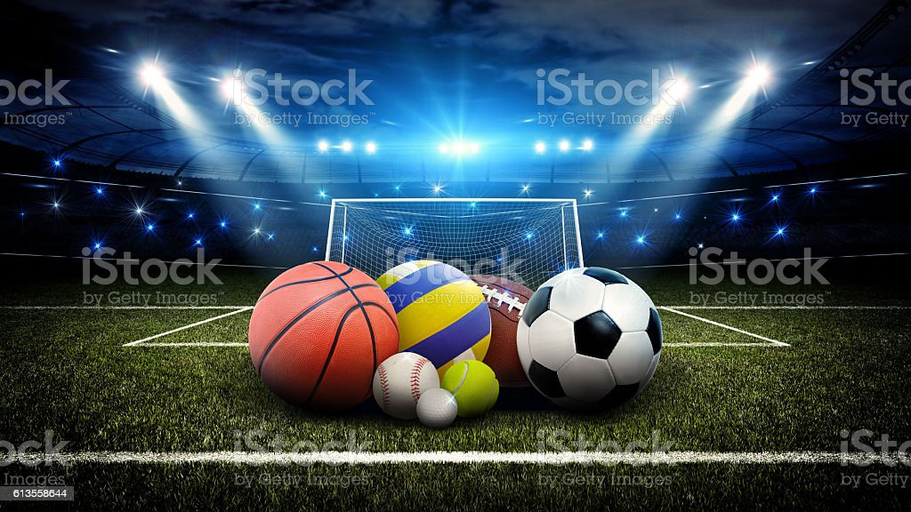 All sports balls in stadium 3d stock photo