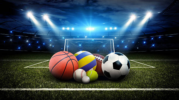 all sports balls in stadium 3d - volleyball sport stock photos and pictures