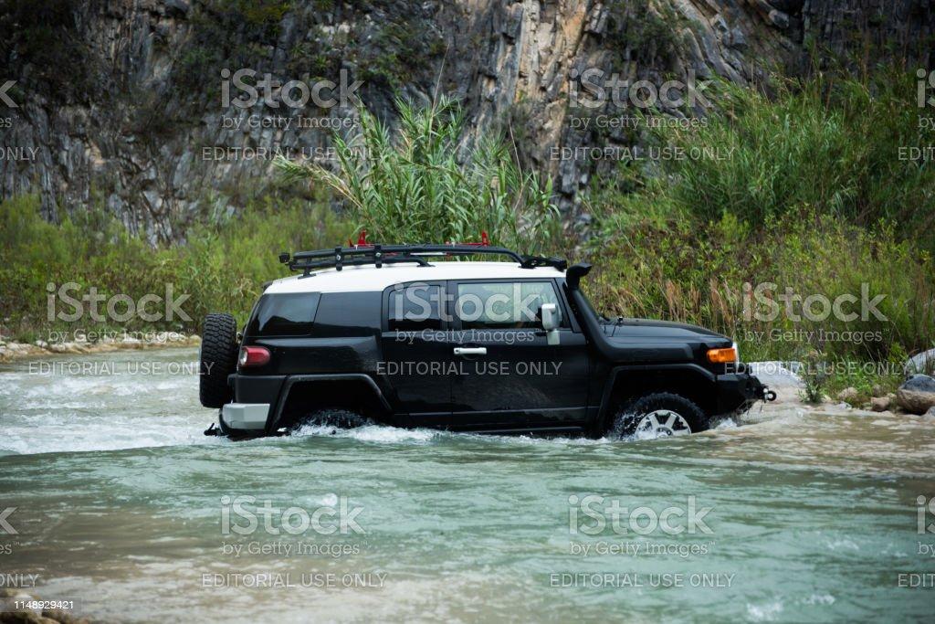 Rio Pilon, Nuevo Leon, Mexico. May 12, 2019. Toyota FJ Crusier is...