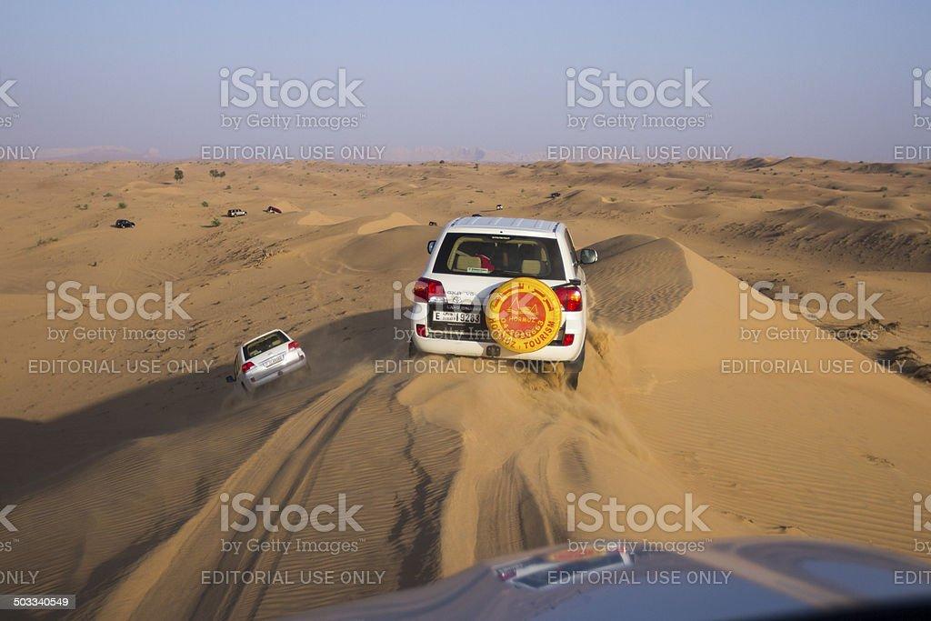 All terrain vehicle in the desert. stock photo