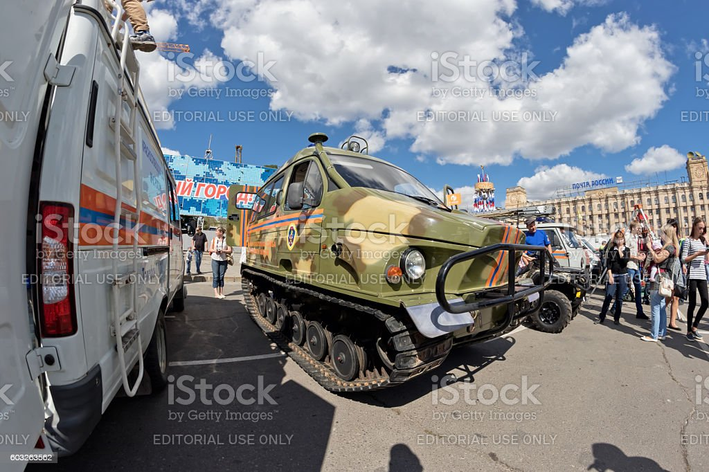 All terrain vehicle on tracks at exhibition of special equipment stock photo