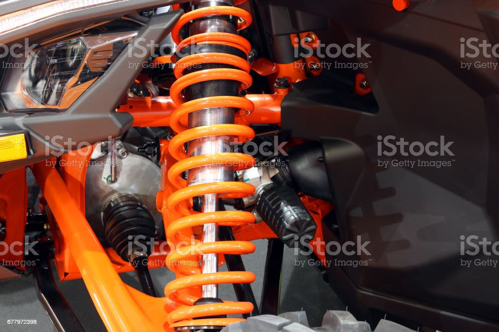 all terrain vehicle shock absorber close up royalty-free stock photo