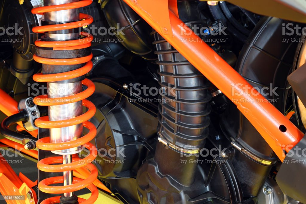 all terrain vehicle shock absorber stock photo