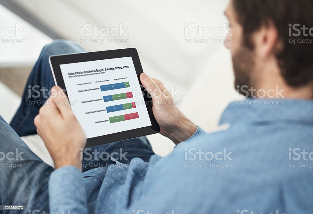 All the facts at the touch of a button stock photo