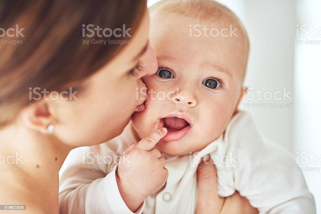 All the girls wanna kiss these cute cheeks stock photo