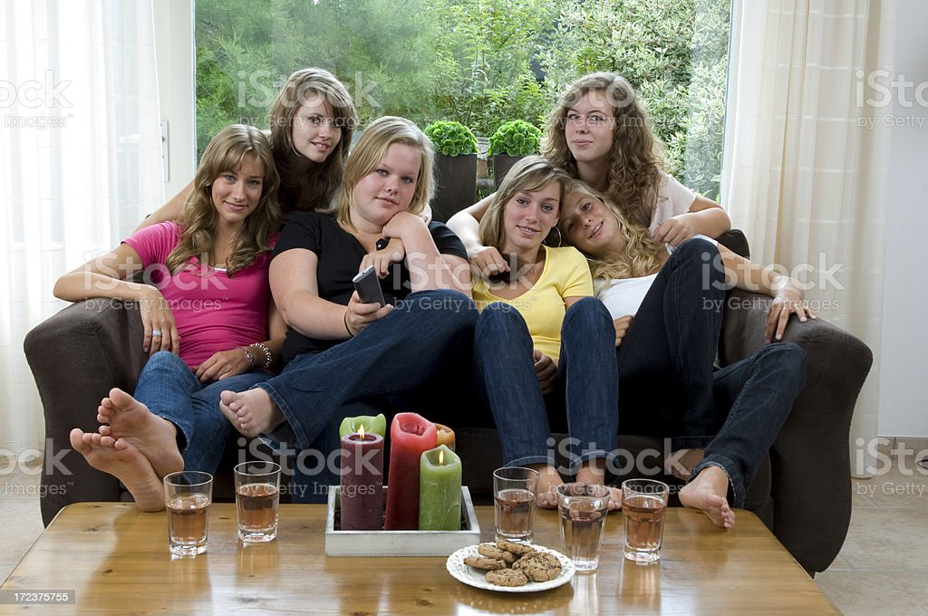 all the girls watch tv royalty-free stock photo