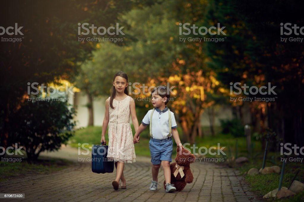 All they need is imagination and a few props stock photo