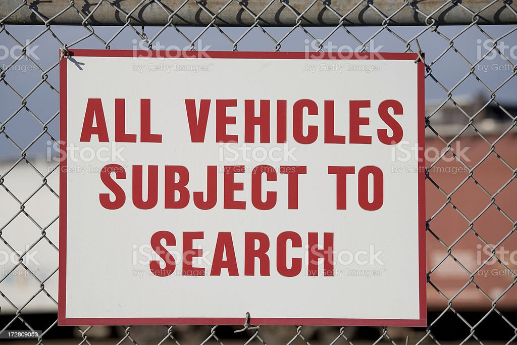 All vehicles subject to search sign royalty-free stock photo