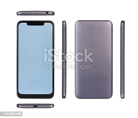 All view of smartphone with notch isolated on white studio background
