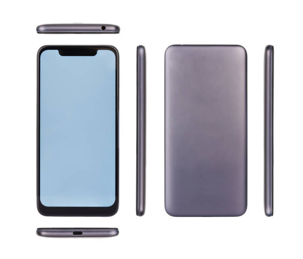 All view of smartphone with notch stock photo