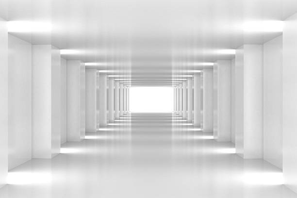 all white corridor ends in bright light - infinity stock photos and pictures