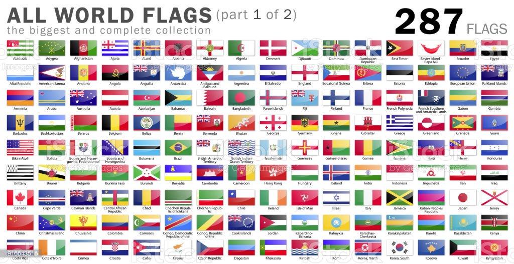 Bandeiras do mundo - 287 itens - parte 1 de 2 - foto de acervo