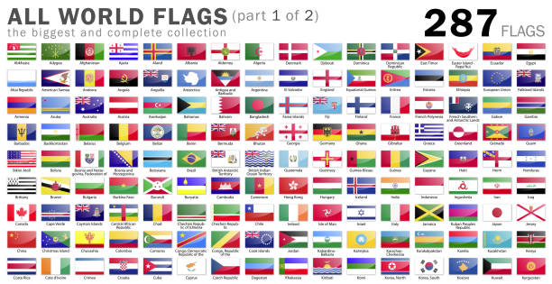 All World Flags - 287 items - part 1 of 2 stock photo