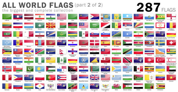 All World Flags - 287 items - part 2 of 2 stock photo