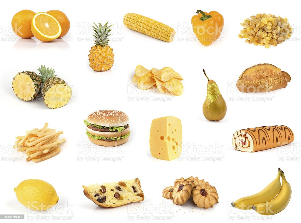 All yellow. Food collection. royalty-free stock photo