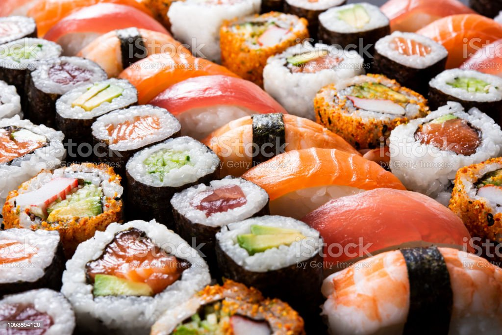 All you can eat sushi stock photo