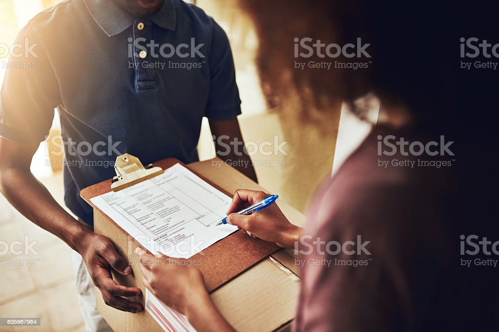 All you have to do is sign for it stock photo