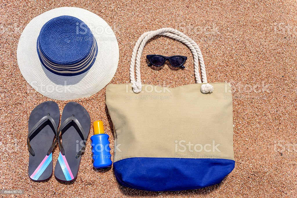 All you need for a summer vacation at the beach bildbanksfoto
