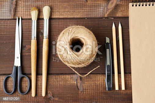 Art and craft equipment in a row