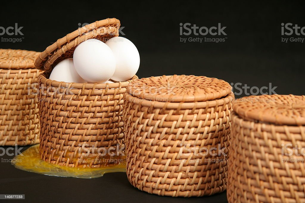 All Your Broken Eggs In One Basket stock photo