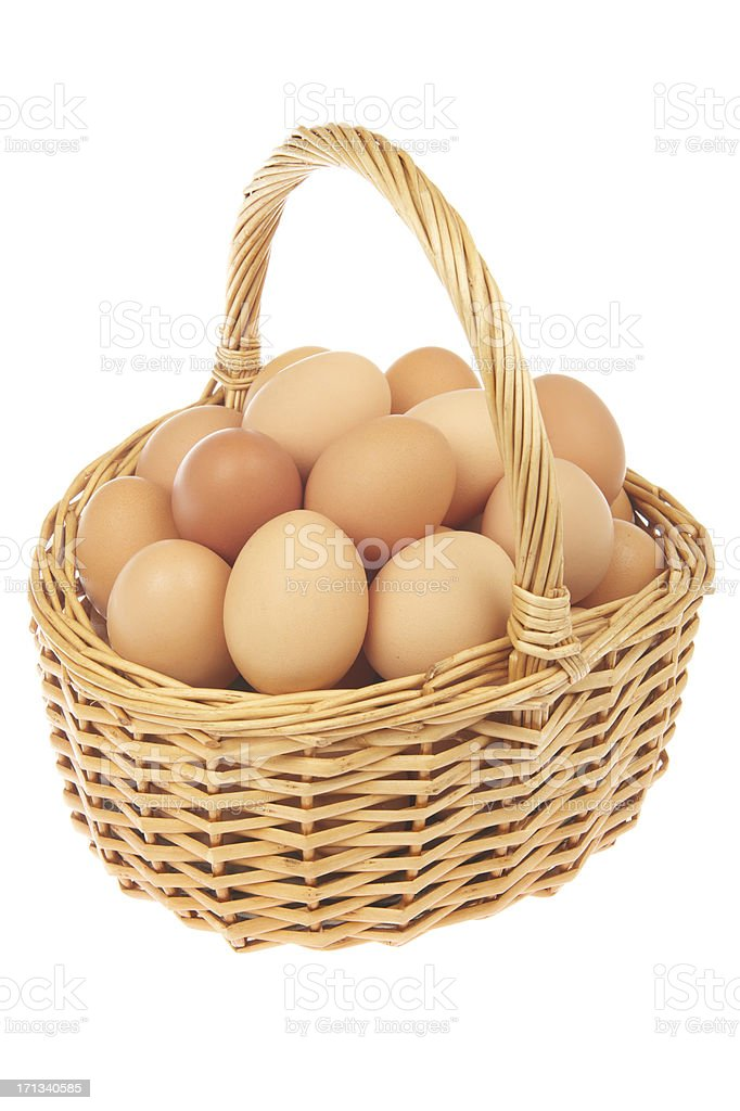 All Your Eggs in One Tidy Wicker Basket White Background stock photo