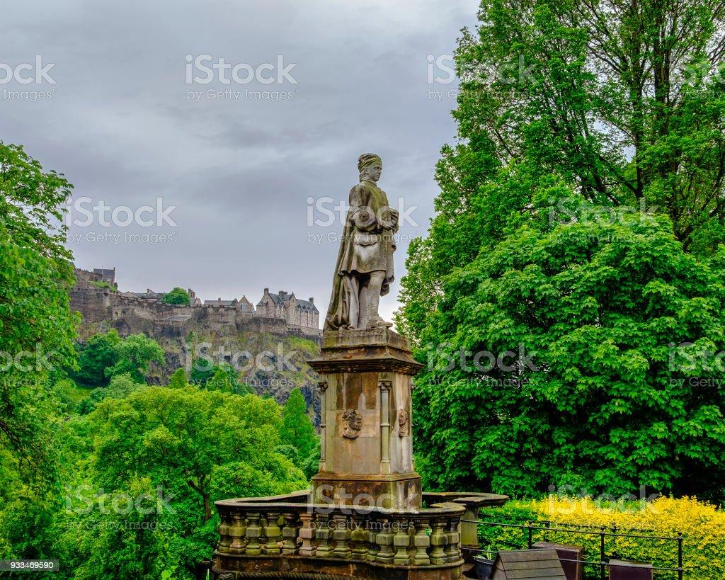 Allan Ramsay Statue (1685 -1758) on West Princes Street Gardens. Scotland stock photo
