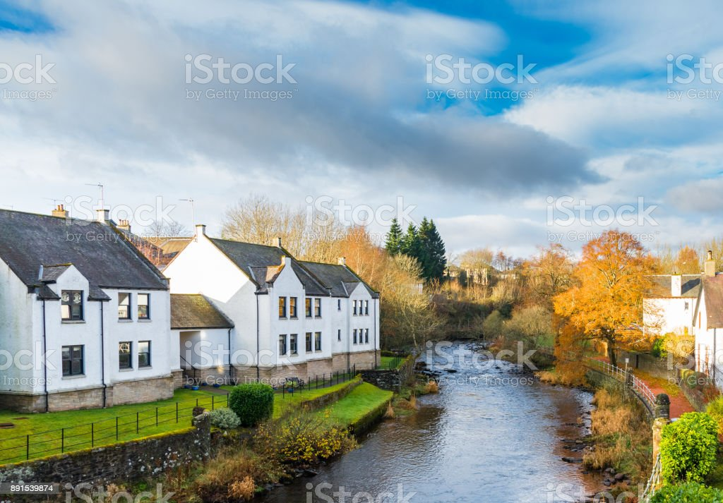 Allan Water that Runs through Dunblane in Scotland stock photo