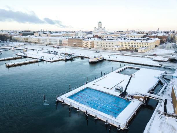 allas havspool i helsingfors, finland - drone helsinki bildbanksfoton och bilder
