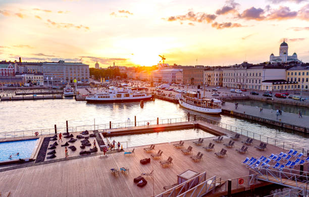 allas sea pool i helsingfors, finland - drone helsinki bildbanksfoton och bilder
