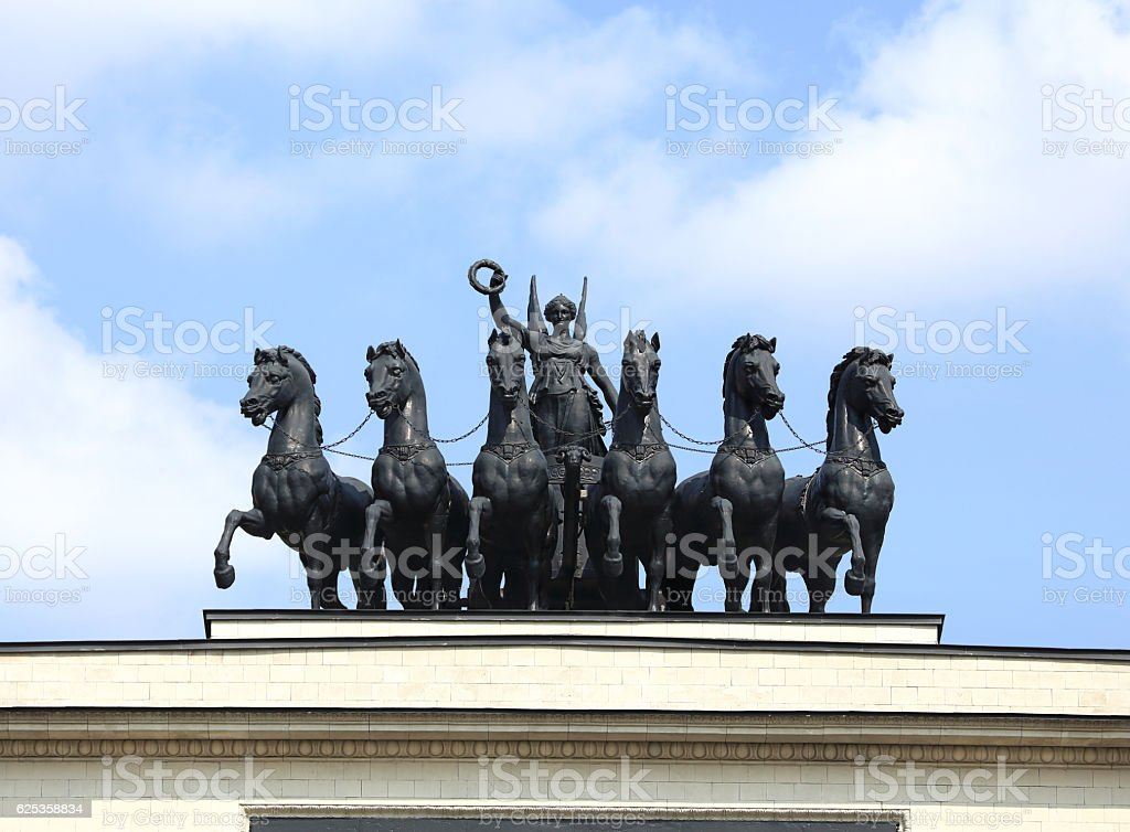 Allegorical chariot 'Glory' that crowns the Triumphal Arch in Moscow stock photo