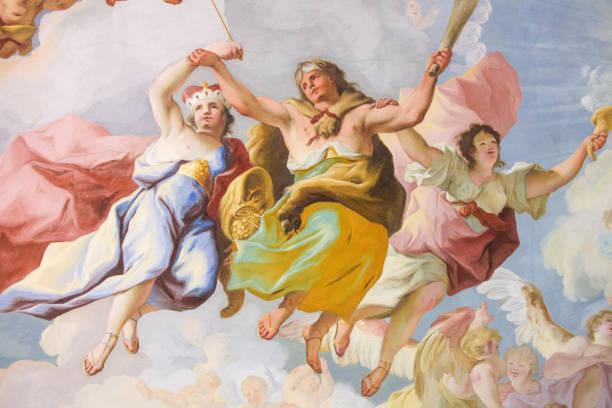 Allegorical Representation of Courage - Fresco in Stift Melk, Austria stock photo