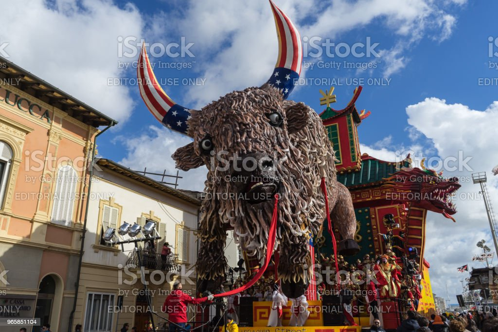 Allegorical wagon with political satire referred to USA and China, Viareggio, Italy - Royalty-free Carnival - Celebration Event Stock Photo
