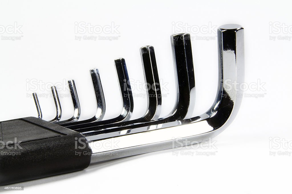 Allen wrench set chrome with white background royalty-free stock photo