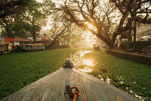 Alleppey backwaters on sunrise stock photo