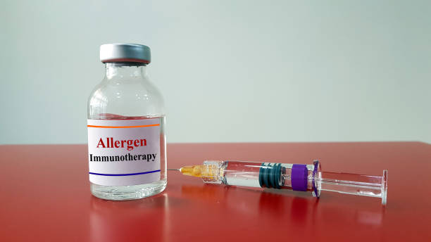 Allergen immunotherapy in bottle and syringe for injection. Allergy shot or desensitization is treatment for allergy as allergic rhinitis disease. Medical immunology and research technology concept. stock photo