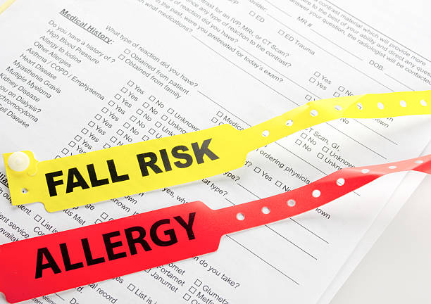 allergy and fall risk bracelet - inpatient stock pictures, royalty-free photos & images