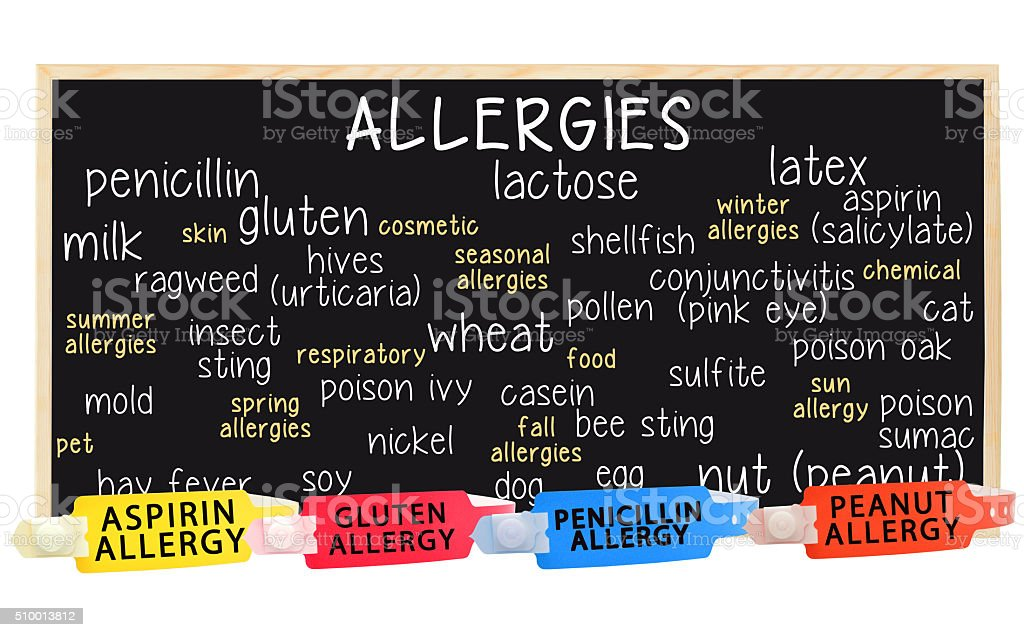 Allergy Blackboard Medical Warning Wristbands stock photo