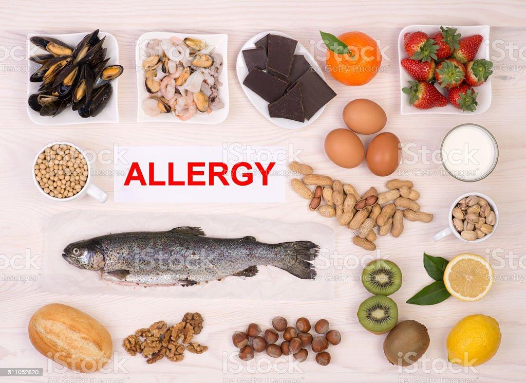 Allergy causing foods stock photo