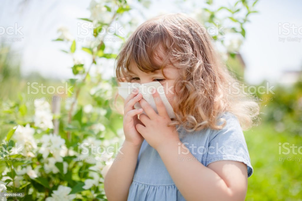 Allergy concept. Little girl is blowing her nose near blooming tree. stock photo