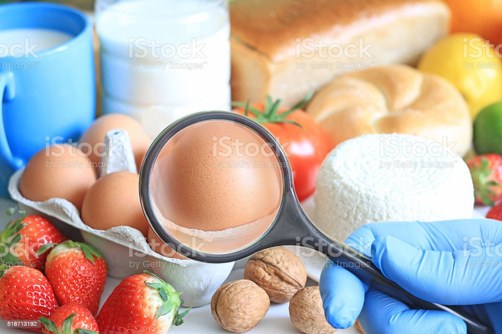Allergy food abstract concept with examining doctor stock photo