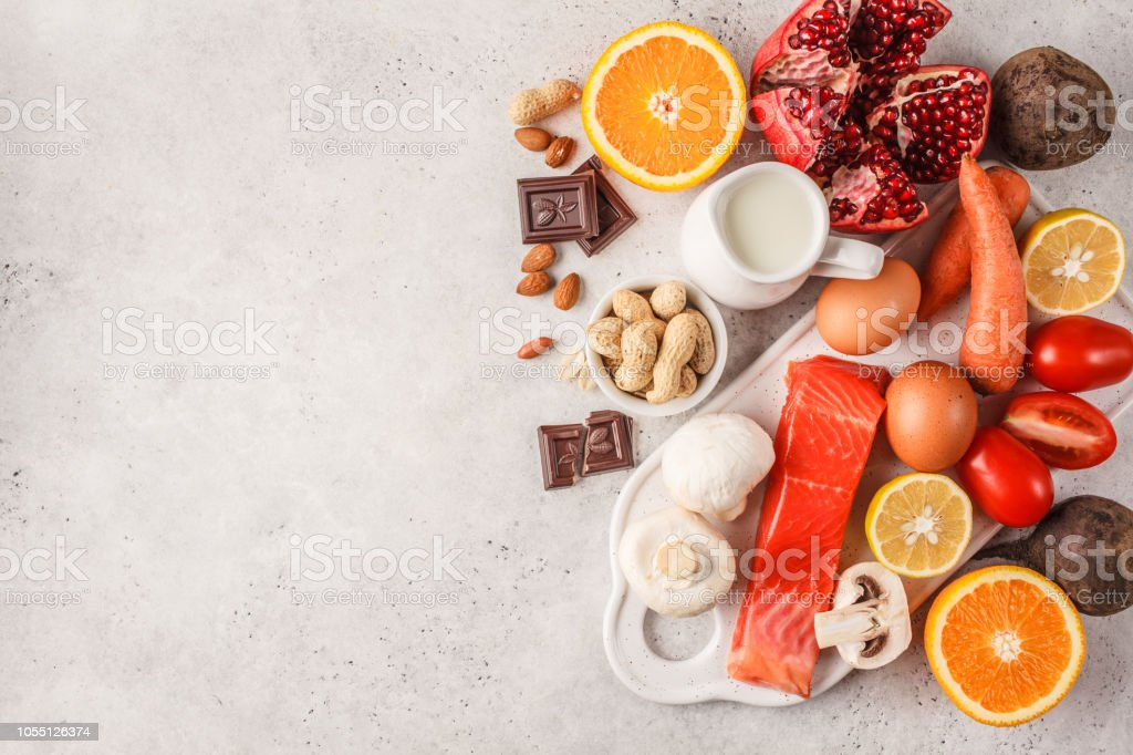 Allergy food concept. Allergies to fish, eggs, citrus fruits,...