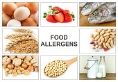 Allergy food concept. Food allergens as eggs, milk, fruit, tree nuts, peanut, soy, wheat and fish. Text \