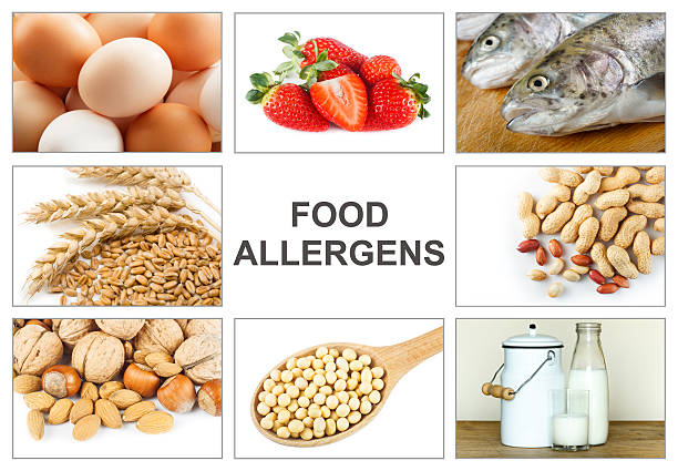 allergy food concept - pinda voedsel stockfoto's en -beelden