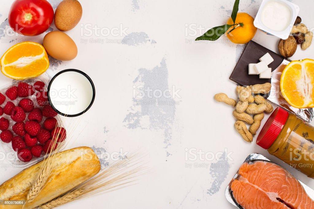 Alergia concepto de comidas - foto de stock